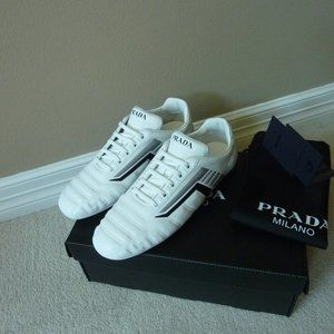 Prada Race Track Logo Leather Sneakers Shoes, 7.5